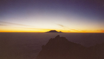 View of Mt Kilimanjaro from Mt Meru summit